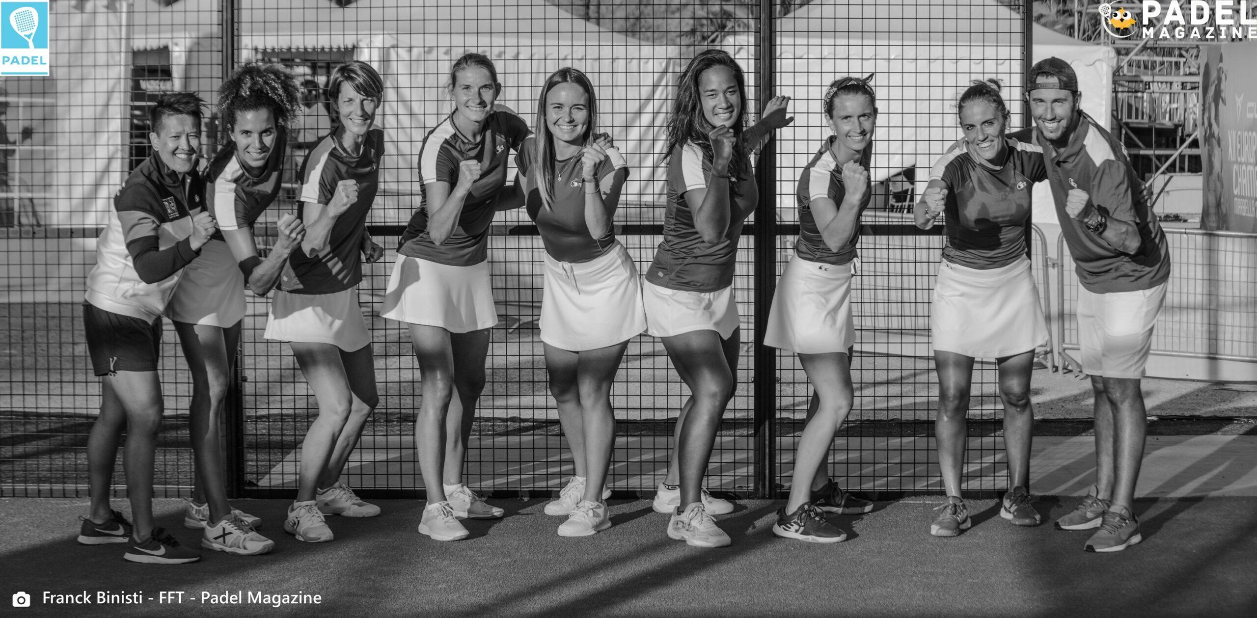 Fransk hold padel damer marbella knyttede knytnæve sort og hvid europa 2021