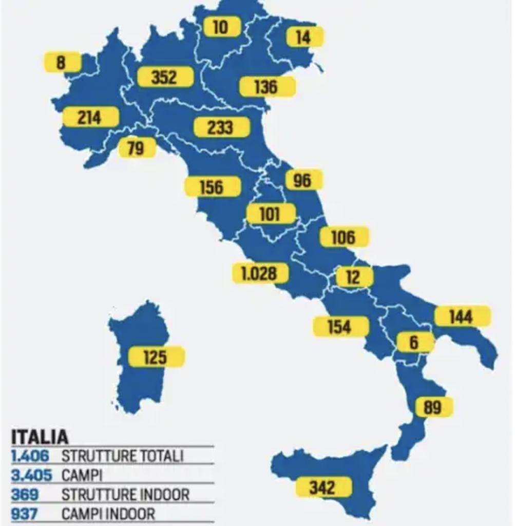 carte italie courts de padel aout 2021