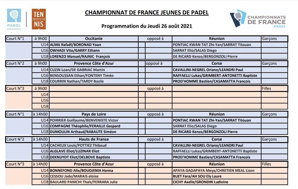 Ranskan nuorten mestaruuskilpailut padel 2021 Toulousen ohjelma