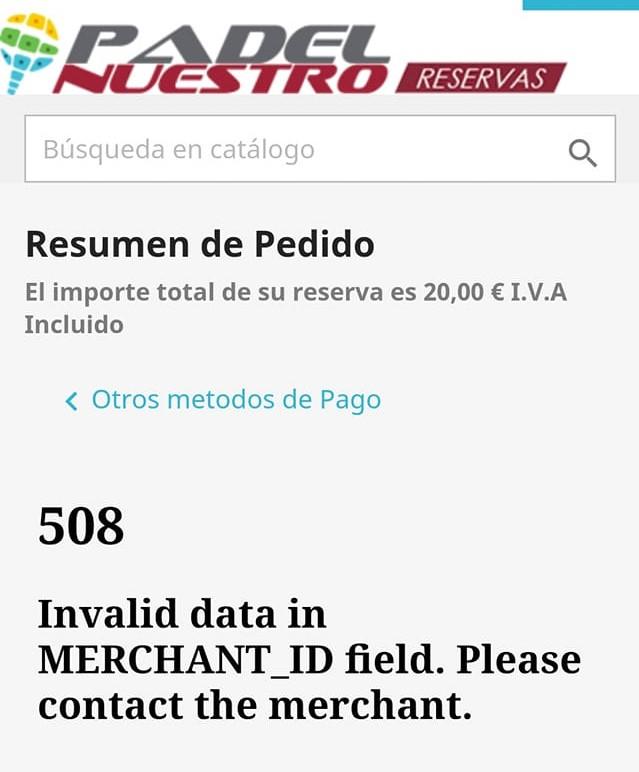 Padel Nuestro site down