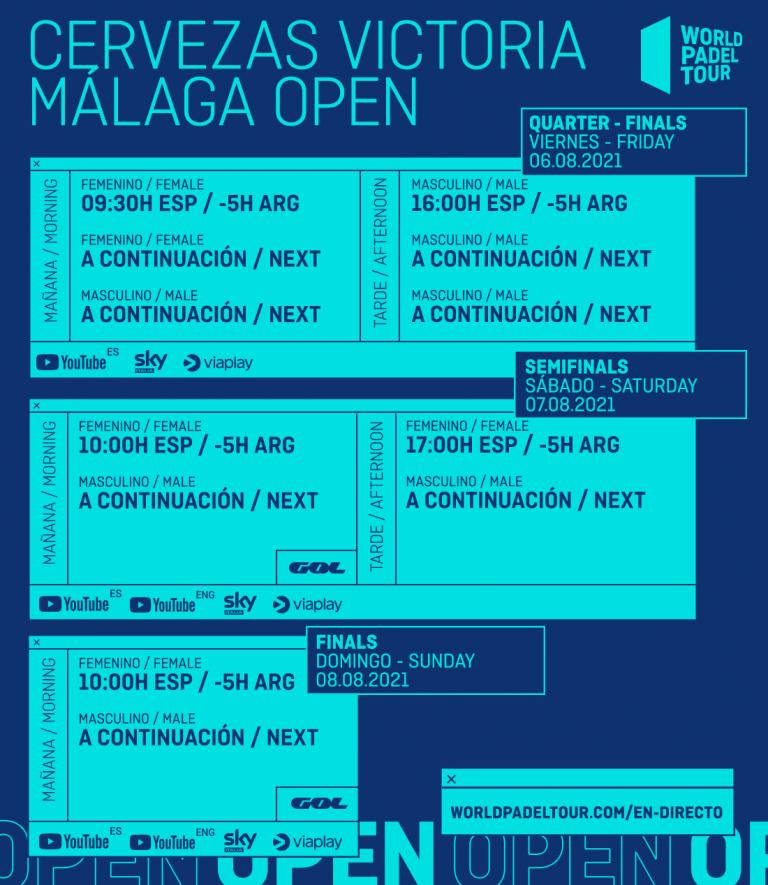 calendrier planning world padel tour quarts dames malaga 2021