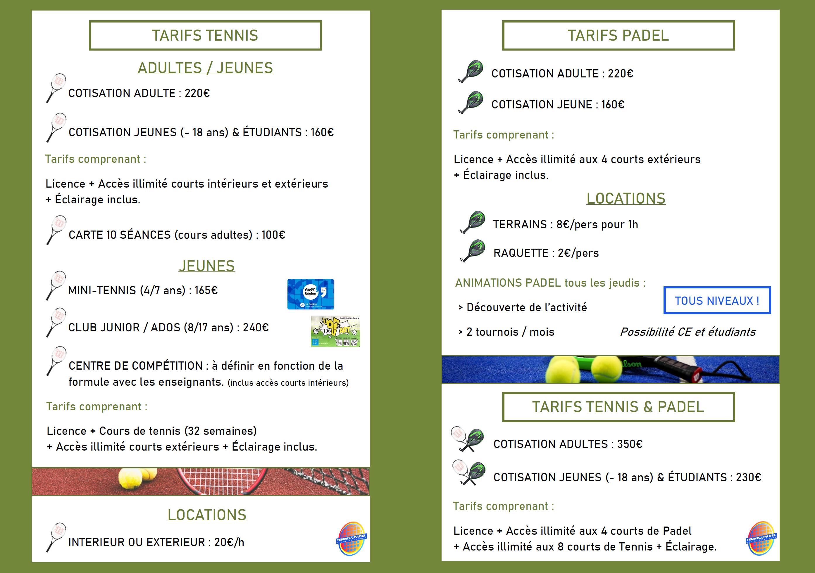 Informazioni padel Tennis & Padel Bourg-Lès-Valence