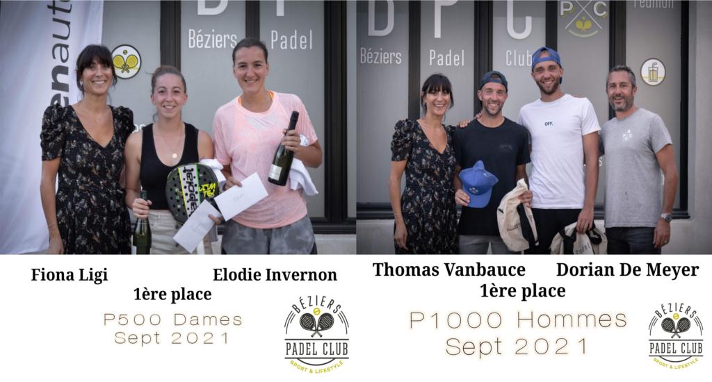Résultats P1000 et P500 Béziers Padel Club 2021